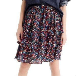 J. Crew Tiered Skirt Kaleidoscope Star Print Sz 8
